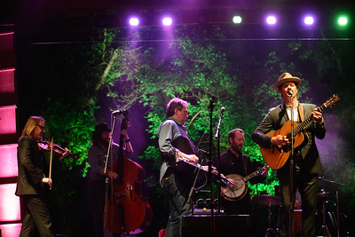 Jerry Douglas (Dobro, middle), sits in with Steep Canyon Rangers at the 44trh annual Rockygrass. Photo by Candace Horgan.