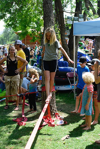 Slacklining at the 44h annual Rockygrass. Photo by Candace Horgan.