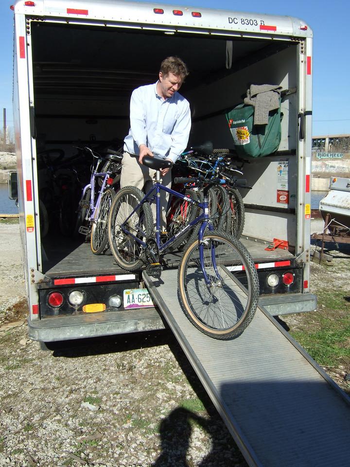 Jim unloading bikes