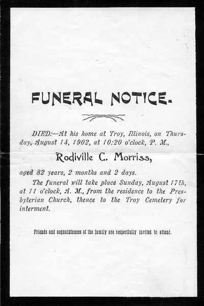 Funeral Card for Rodiville C. Morriss<br /> (Collection of Millie C. Shaffer)