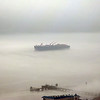 Phantom Ship in thick fog - April 12, 2008<br /> This is the Hudson River. Across the river is NYC