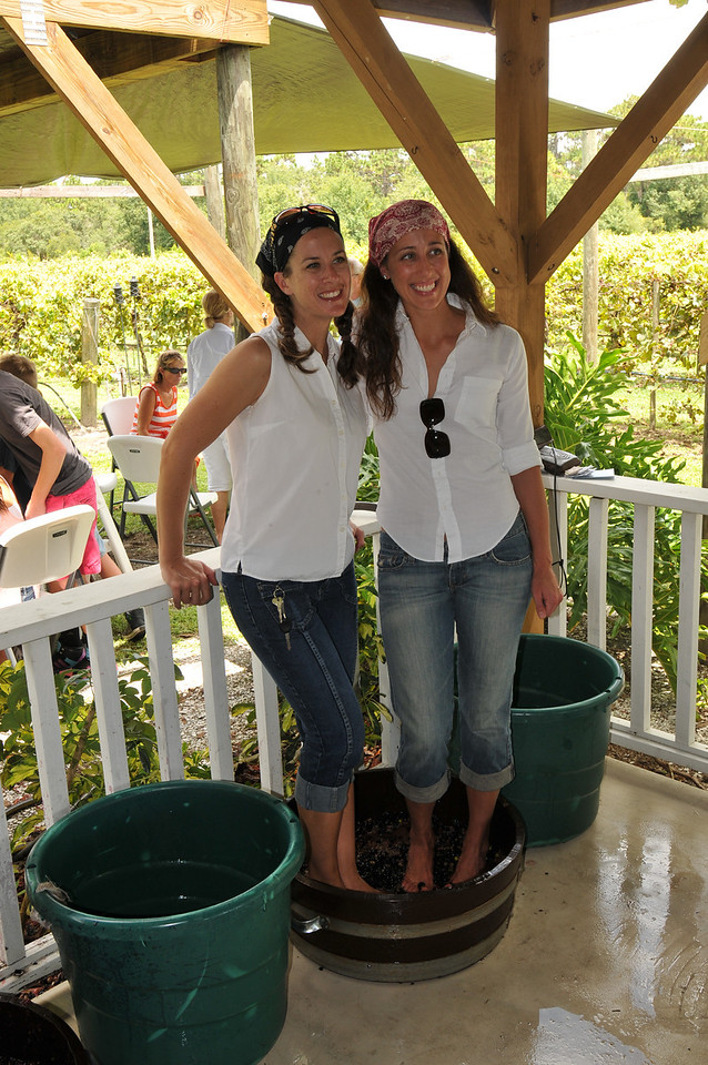 New found friends stomping grapes