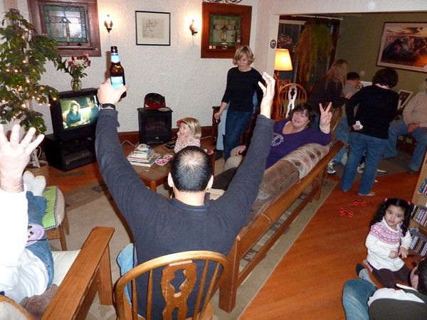 The house-full watches the Olympics on the Gorski's out-of-date TV