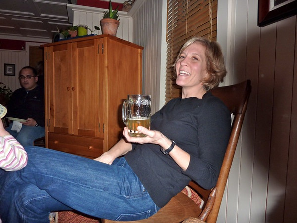 Hazel's mother shows off her beer. We soon learned that she is very picky about what beverage she chooses to drink.