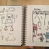 Draw robots.  The small robot in Elijah's picture is a robot that is far away (perspective).