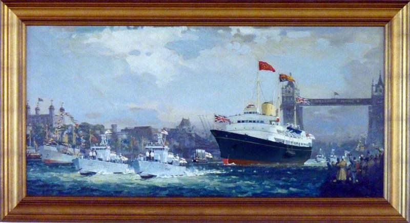 Painting-Britannia coming in through Tower bridge