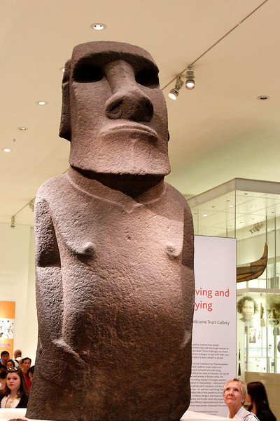 Easter Island statue and onlooker