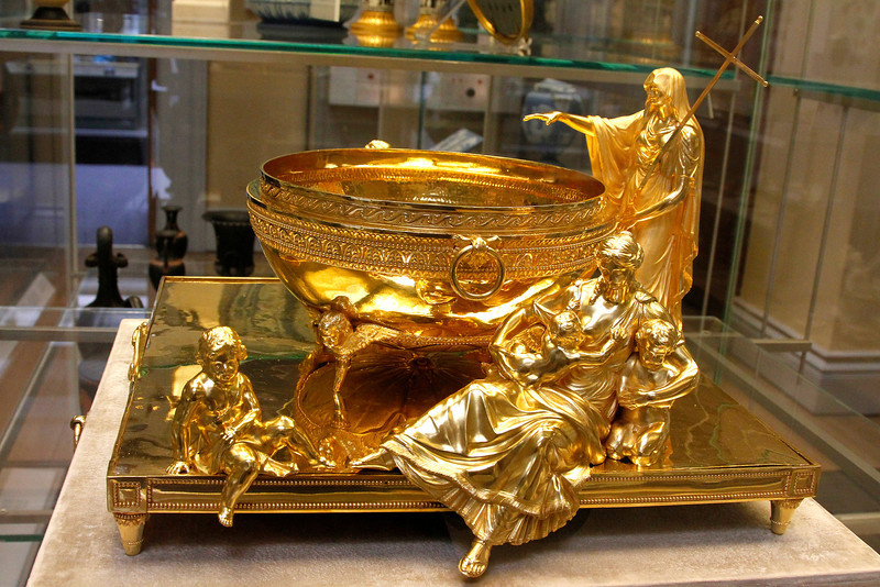 The Portland Font.   This superb gold font was designed by Humphrey Repton (1752-1818) and made by the workshop of Paul Storr (1771-1844).