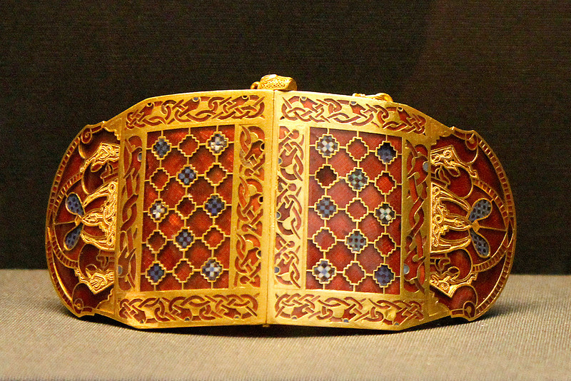 Wonderful workmanship on enamelled shoulder clasp - found in a 6th-7th century ship grave high above the river at Sutton Hoo.