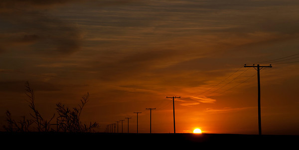 Hydro Pole Line at Sunset