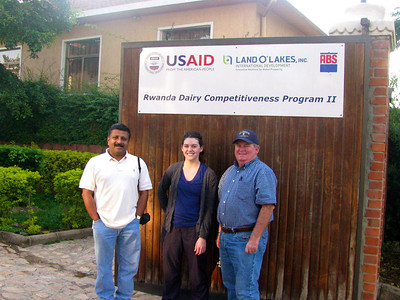 Global HealthShare/UC Davis team arrives at Land O'Lakes International Development Division (LOL-IDD) Headquarters in Kigali, Rwanda. From left to right, Dr. Somen Nandi, Ms. Megan Doyle, and Prof. Jim Cullor.