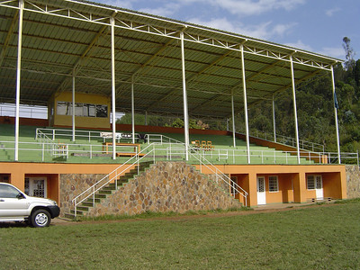 A tragic and famous site for the killings - the stadium in Kibuye where Tutsi's were rounded up and killed en masse.