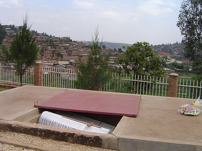The genocide memorial - the bones of 50 individuals are placed in each casket.