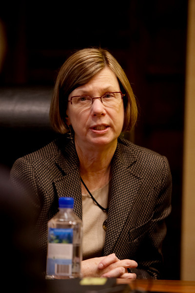 San Antonio, TX - SABCS 2008 San Antonio Breast Cancer Symposium: Sandra Swain, Director of the Washington Cancer - Georgetown University answers questions at a meeting during the 2008 San Antonio Breast Cancer Symposium here today, Wednesday December 10, 2008. Over 8,000 Physicians, researchers and healthcare professionals from over 50 countries attended the meeting which features the latest research on Breast Cancer Treatment and Prevention. Date: Wednesday December 10, 2008 Photo by © SABCS/Todd Buchanan 2008 Technical Questions: todd@toddbuchanan.com; Phone: 612-226-5154.