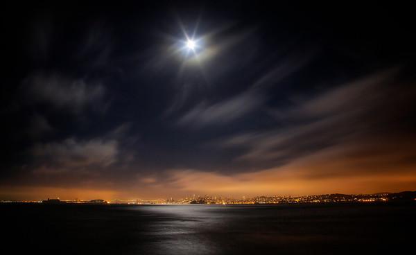 Moonburst Over the Bay