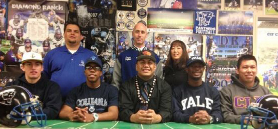 Description of . Diamond Ranch High School athletes sign to various colleges. (Courtesy Photo 2-5-14)