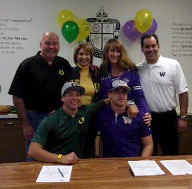 Description of . Tristan Vizcaino signing with Washington and Tanner Carew signing with Oregon (COURTESY PHOTO)
