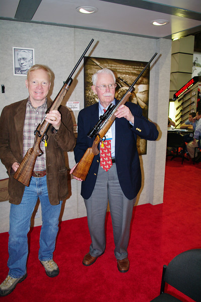 Craig Boddington who probably is the world's most prolific and best-known gun and hunting writer dropped by the Winchester booth. He holds the custom tribute while I hold the famous Jack  O'Connor .270.