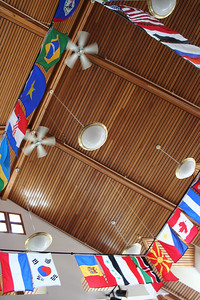 SIT campus.  flags of the home countries of current students.  brattleboro, vt