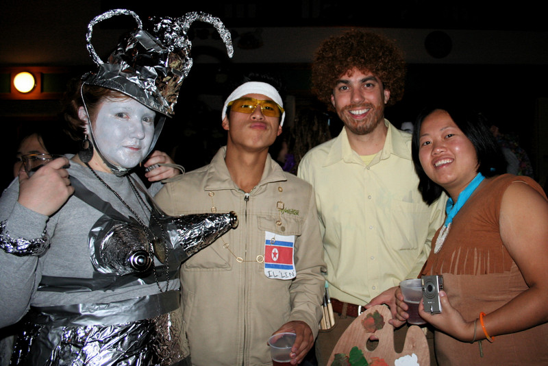 caitlin, garrett, me (as bob ross) and jennifer.. halloween