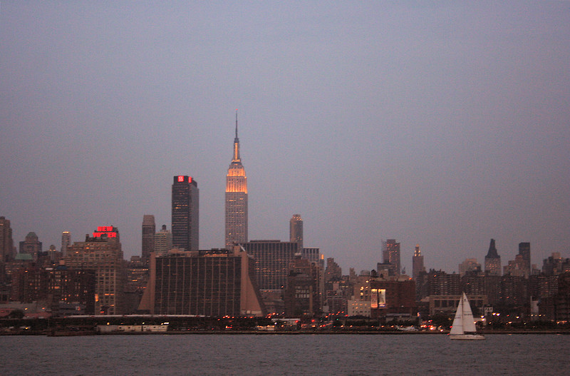 manhattan skyline from a boat ride with kid koala as dj