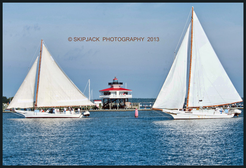 SKIPJACKS  HILDA M WILLING AND REBECCA T RUARK passing the Choptank River Lighthouse   <br /> Cambridge, MD