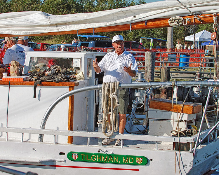 """Skipjack Thomas Clyde  --  needing a tow out to the race.<br /> <br /> Deal Island 2010 """" 51st Skipjack Race """""""