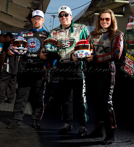 Robert Hight, John Force, Ashley Force Hood, Riley Auto Parts Nationals, Charlotte, NC, 9-17-10