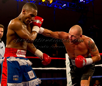 Donatas Boundoravas throws a punch against WIllie Fortune during the undercard for the Holyfield Williams fight at the Greenbrier Resort.