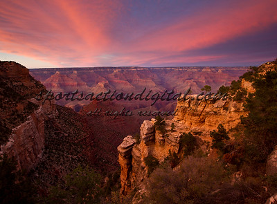 South rim of the Grand Canyon at sunset