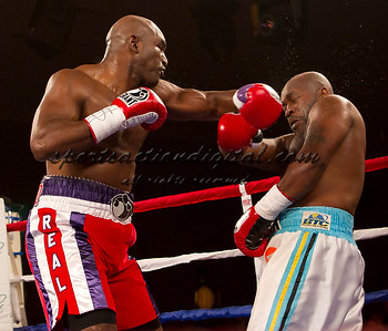 Evander Holyfield throws a punch against Sherman Williams during a fight at the Greenbrier Resort on 1/28/11.  The fight was a no contest when Holyfield did not answer the bell for the fourth round because of a cut.