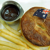 An Aussie meat pie with gravy served at Dodici restaurant at North Rocks shopping mall near to where Peter and Gaye live.