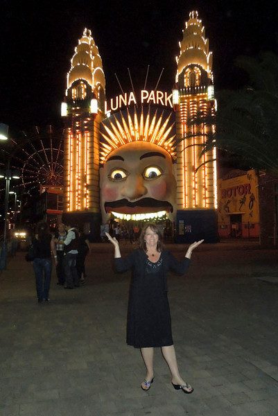 Susan at Luna Park Milsons Point on the north side of Sydney Harbour.