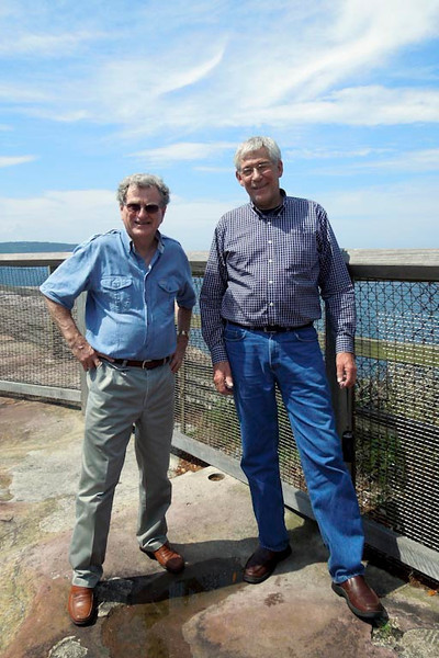 """Peter and Jeff at """"The Gap"""" at Watsons Bay overlooking the Pacific Ocean."""