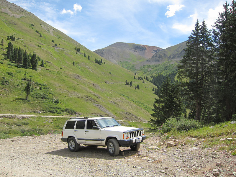 Arriving in Animas Forks, Jeep trail to Cinnamon Pass to the left.