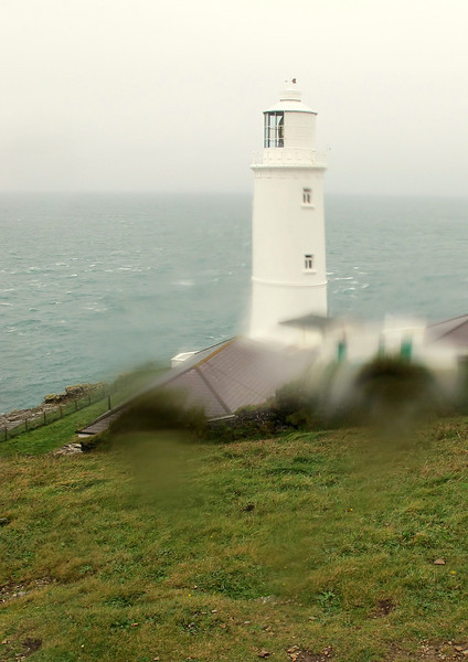 Trevose Lighthouse in foul weather.