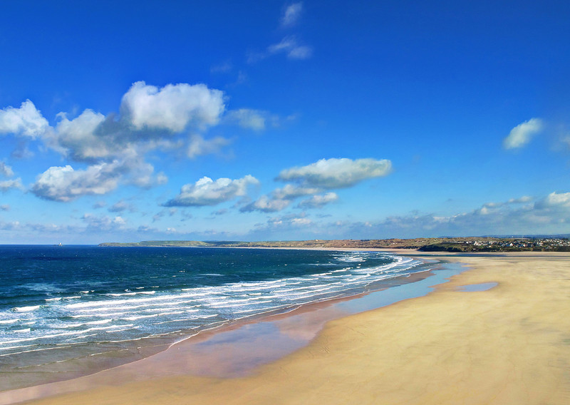 The view across St Ives Bay - Godrevy Lighthouse is visible in the distance.