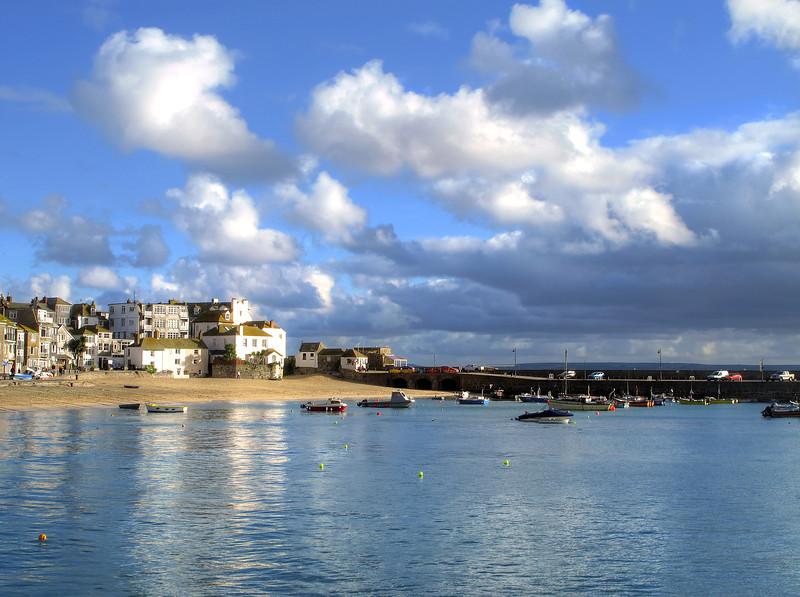 St Ives harbour in morning sunshine.