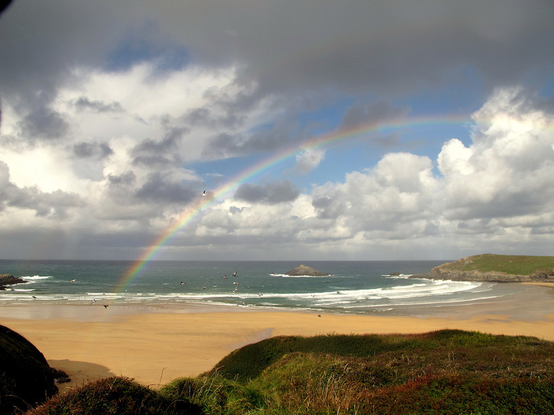 The view to the North at Crantock Beach, just after a light shower.