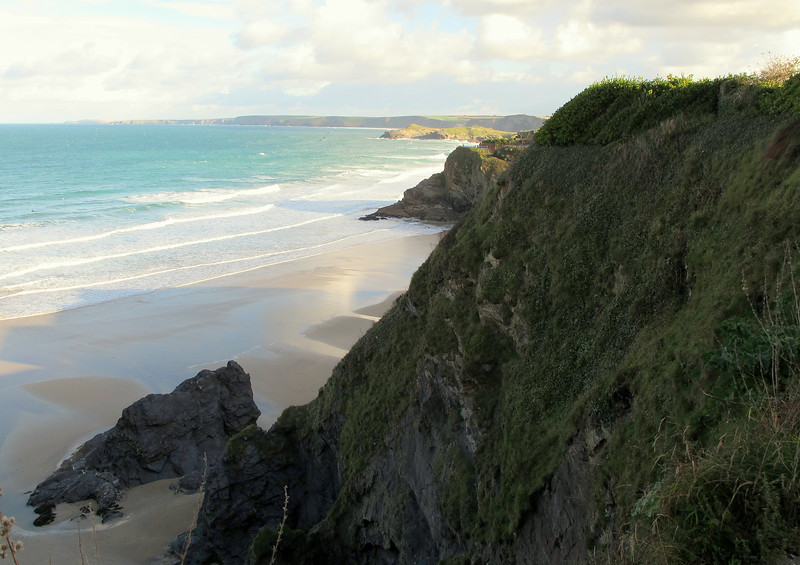 The view along the coast to the Northeast from Newquay.   The distant headland is probably Trevose Head passed halfway through Day 1.