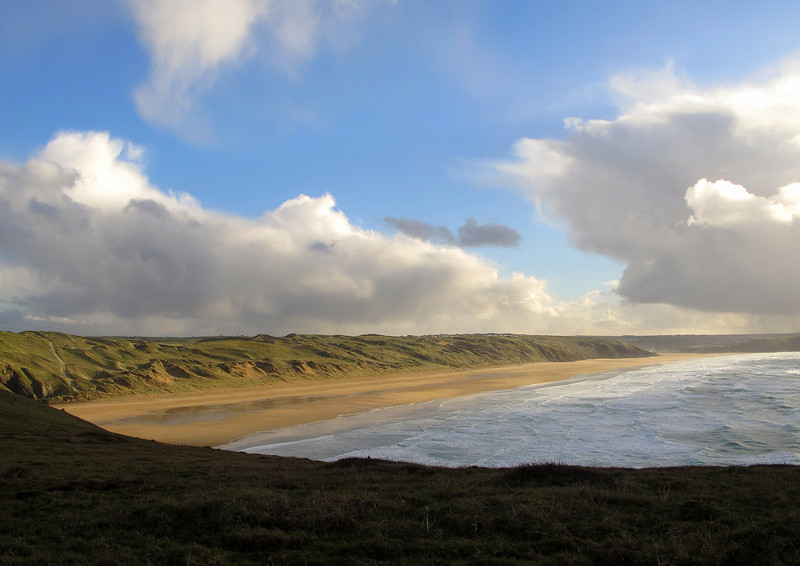 The first sight of Perran Beach and the dunes ending at Perranporth, more than 2 miles away with only about an hour of daylight left.