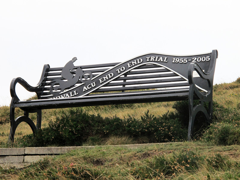 ACU Memorial bench at top of Blue Hills trial run St. Agnes Cornwall UK<br /> <br /> Each year the Cornwall Centre ACU (Auto Cycle Union) run an End to End Trial for motorcycle and sidecars – that is an end to end of Cornwall, running East to West and touching both North and South coasts.