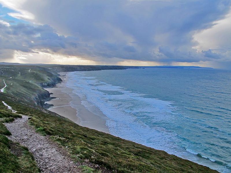 Porth Towan Beach and the headlands to the Southwest as far as Navax Point.