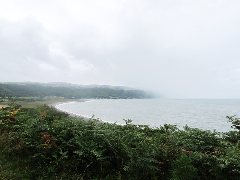 Looking down to Porlock Weir from Bossington Hill and things are about to get a bit damp!