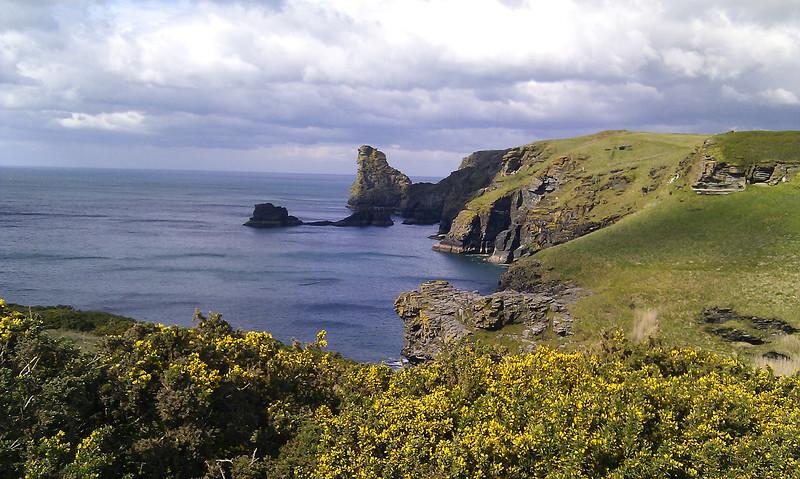 Rugged slate cliffs near Tintagel.