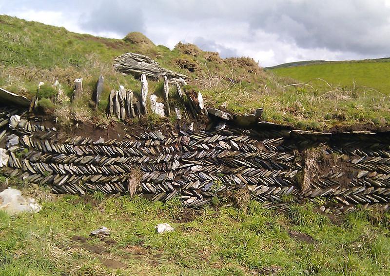 A traditional herringbone Cornish dry stone wall.