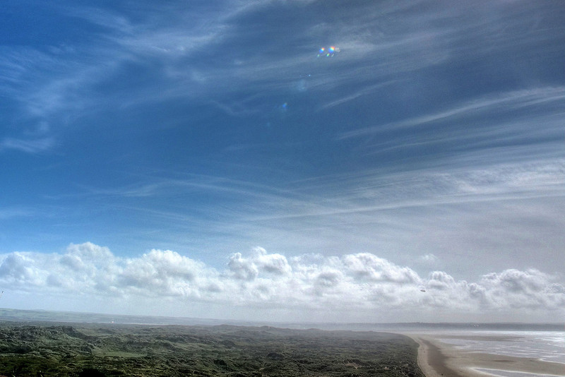 Saunton Sands, the Burrows (dunes) and scudding clouds.