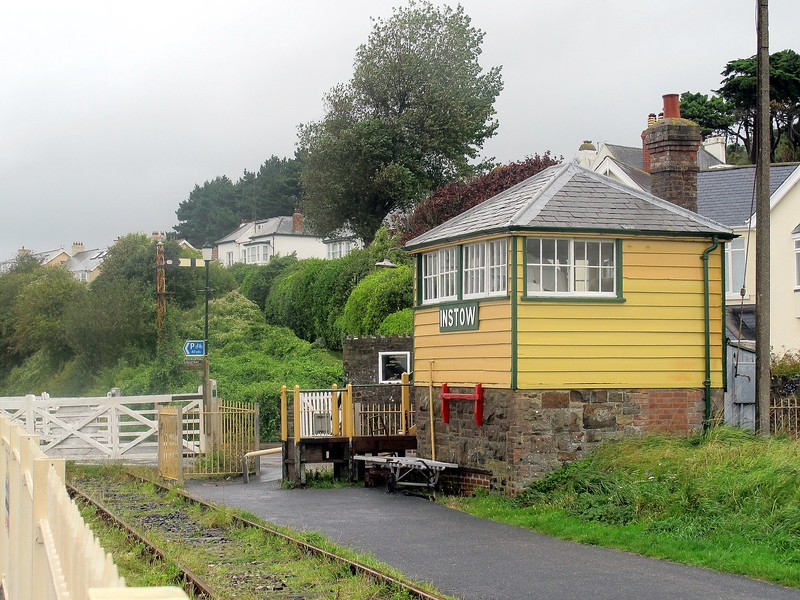 The preserved instow signal box - the track has become the Tarka Trail.