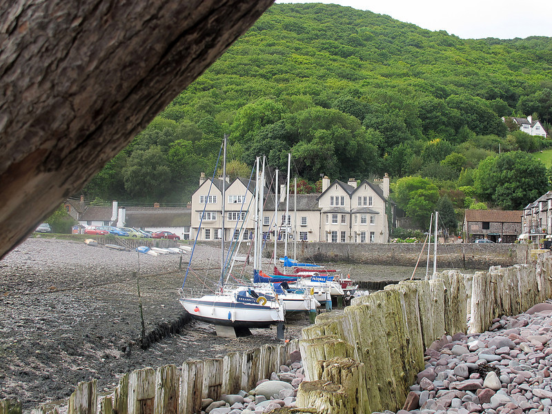 Looking from the beach across to the Anchor Hotel at Porlock Weir.<br /> Mike's Mother-in-Law and Father- in-Law stayed there on their honeymoon.