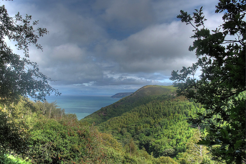 Looking East along the Somerset coast towards Porlock with Bossington Hill beyond.